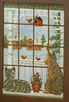 Cats In Window Too Cold To Go Outside Cross Stitch Pattern Chart from a magazine