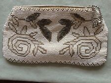 VINTAGE '30s DANCE CLUTCH PURSE, ART DECO BEIGE and TAUPE FLORAL MICRO BEADS