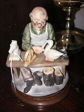 "Vintage Lefton 6888 Wood Carver Old Man figurine on Wood Base 7.5""h good cond"