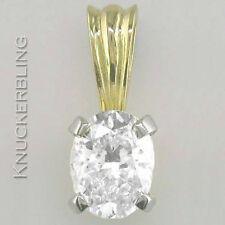 18 Carat Yellow Gold Oval Fine Diamond Necklaces & Pendants