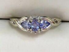 10K White Gold 3-Stone Tanzanite Ring with Diamond Accents Sz 7.25 (1.7g)
