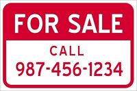 """18"""" x 12"""" FOR SALE  - ALUMINUM SIGN Metal - Heavy Duty"""