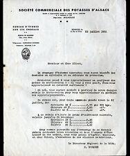 """BOURGES (18) ENGRAIS Bureau Etudes """"Société POTASSES D'ALSACE / H. SOUQUES"""" 1935"""