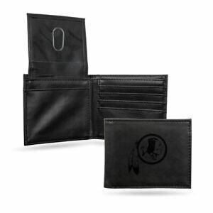 Washington Redskins Laser Engraved Black Synthetic Leather Billfold Wallet