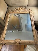 "Large Antique Ornate Wood And Gesso Frame Wall Mirror - 29.5"" Wide x 46.0"" Tall"