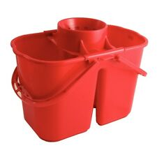 Jantex Colour Coded Twin Mop Bucket Cleaning Supplies Equipment Bucket Red
