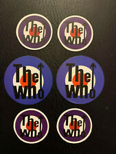 """Lot of (6) THE WHO 2"""" x 2"""" Band Logo Sticker Blue Red White FAST! FREE SHIP!"""