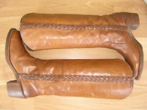 Vintage Frye Saddle Tan Braided Campus Boots US Woman's 8 1/2 B