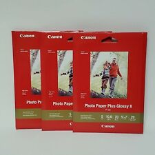 """Lot of 3 Canon Printer Photo Paper Plus Glossy II Size 5"""" x 7"""" 60 Sheets PP-301"""