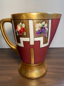 D & C France Ewer/Pitcher Hand Painted by Blet Chicago, Gold, Burgundy, Fruit