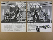 1981 Pan Am Boeing 747 Jet Clipper Business Class cabin photo vintage print Ad