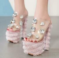 Women Rhinestone Tassel Sandals Platform Block Heel Perspex Mules Peep Toe Shoes