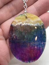 "Geode Agate Druzy Crystal Tibetan Silver 18"" Necklace D-1353"