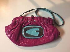 Guess  Fuchsia Pink Baguette Handbag Bag With A Pop! Kisslock Emblem