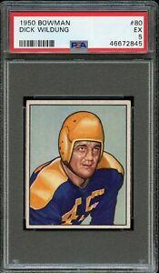 1950 Bowman FB Card # 80 Dick Wildung Green Bay Packers PSA EX 5 !!!!