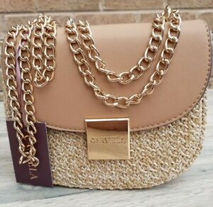 Carvela Beige/Nude Xbody Heavy Weave Fabric/ Faux Leather Bag. Gold-tone chain .
