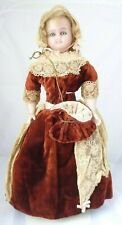 """Antique reinforced wax doll C.1880s beautiful eyes and lovely velvet dress 18"""""""
