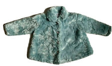 Mulberribush Girls Soft Plush Furry Powder Blue Curly Fleece Coat Jacket Size 3T