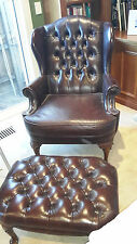 CHESTERFIELD MORAN  WING BACK ARMCHAIR & FOOT STOOL  LEATHER  studded trim