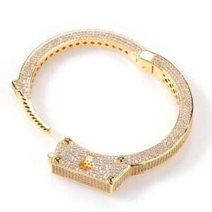 Fashion Handcuff Cuban Bracelet Hip Hop Yellow Gold Miami Beach
