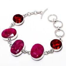 """Kasmire Kasmire Red Ruby Gemstone 925 Sterling Silver Bracelet 7-9"""" RZ-3237"""