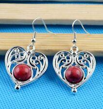 Nice New Tibetan Silver Artesian Crafted Red Heart Shape Dangle Drop Earrings