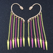 One Pair Dangle Neon PInk/ Neon Yellow Spike Hook Cuff Earring In Gold Plating