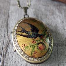 Retro Swallow Bird in Spring Brass Picture Locket Pendant Statement Necklace
