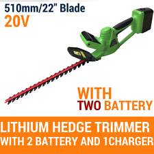 "20V Cordless Hedge Trimmer Lithium-Ion Electric Garden Tool 22""/510MM,W/2Battery"