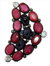 Style Natural Ruby & Sapphire Ring 925 Silver Rose Cut Polki Diamond Victorian