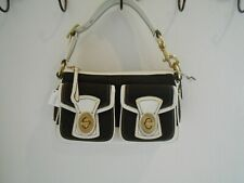 COACH-BROWN /VANILLA CANVAS SHOULDER BAG FOR WOMAN