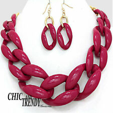 CLEARANCE BURGUNDY / MAROON CHAIN LINK NECKLACE JEWELRY SET CHIC & TRENDY