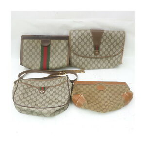Gucci PVC Canvas Shoulder Bag Clutch 4 pieces set 522265