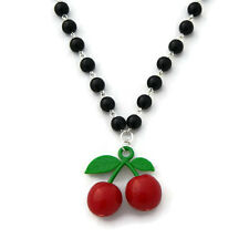 Rockabilly Cherry Necklace with Black Pearls