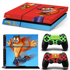 PS4 Playstation 4 Console Skin Decal Sticker Crash Bandicoot Custom Design Set