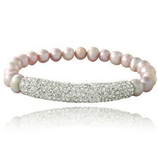 Pink Freshwater Cultured Pearl & Crystal Bar Stretch Bracelet