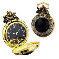 Luxury Golden & Silver Chinese Dragon Design Pocket Watch With Dark Red Zircon
