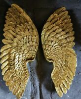 Pair Antique Gold Angel Wings Cherub Wing Decorative Wall Art Hanging 37cm New