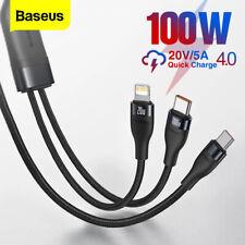 Baseus 2 in1 Schnell Ladekabel TypeC to Lighting 100W  für iPhone Apple Samsung