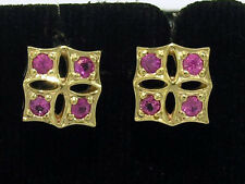 E021- GENUINE 9K  9ct Yellow GOLD Natural PINK Sapphire Stud EARRINGS