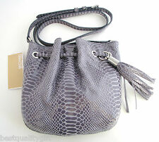 NEW MICHAEL KORS PYTHON LEATHER DENIM BLUE,GREY RING TOTE CROSSBODY HAND BAG