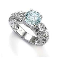 18k White Gold Aquamarine Diamond Engagement Ring