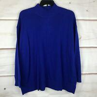 Karen Scott Plus Size Pullover Knit Long Sleeve Mock Neck Womens 2X Blue Sweater