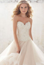 Bride Ruffles White Ivory Lace Bridal Gown Wedding Dress Custom Size 4-26++
