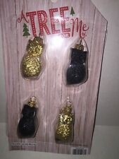Set of 4 Christmas Holiday Mini Owl Glass Ornaments Black & Gold