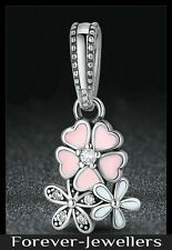 GENUINE PANDORA PAVE PINK POETIC BLOOM DANGLE CHARM S925 ALE SILVER WITH POUCH