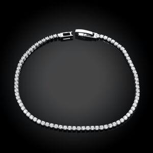 "10.00 Cttw Gemstone Round Tennis Bracelet in 18K White Gold Plated 7.9""  ITALY"