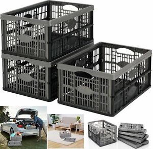 5X GREY/SILVER 32L FOLDING PLASTIC COLLAPSIBLE STORAGE BOXES CRATES STACKABLE