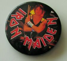 IRON MAIDEN VINTAGE 32mm METAL PIN BADGE FROM 1987 MADE IN ENGLAND NIKO McBRAIN