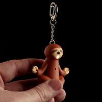 Novelty LED Light Sound Crying Sloth Keyring Party Bag Stocking Filler Gift